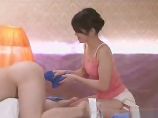 Anal massage increased by cleaning service with Maki Hojo