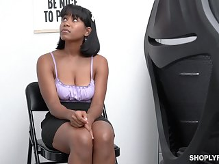 Black Canadian chick Jenna Foxx is fucked doggy increased by missionary hard