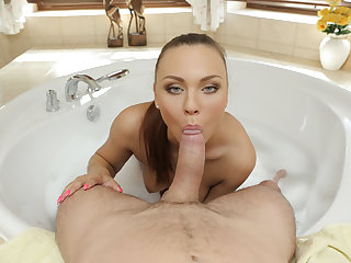 VR BANGERS Fingering bath show before riding a cock