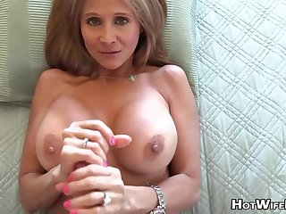 Mature blond housewife with phat milk globes is frolicking with her paramour's ruffle rigid manstick