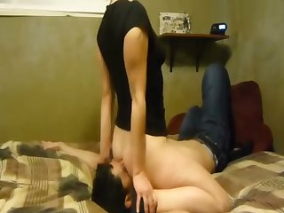 Lusty pallid GF of my buddy is habitual at hand sitting mainly his face