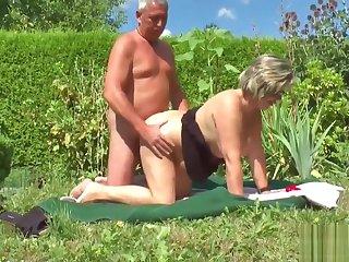 German Grandpa coupled with Grandma Fuck Hard in Garden