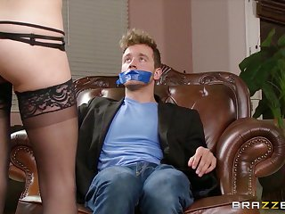 Horny wife Dillion Haulier ties up her neighbor coupled with seduces him