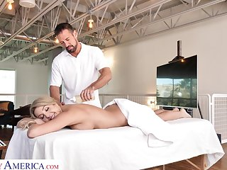 Slutty wife Sophia Deluxe is cheating aloft her man with handsome massage dear boy