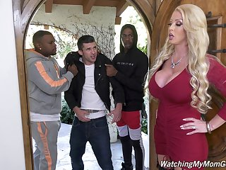 Giant bottomed white MILF Alura Jenson is hammered doggy away from black hunk