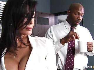 Office lady Shay Sights fucked by a large black penis on make an issue of table