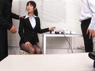 MMF threesome in slay rub elbows with office with secretary Kitagawa Yuzu. HD