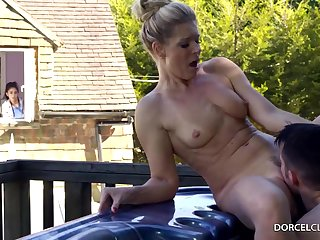 Devoted to blonde woman with big tits, India Summer is cheating on their way husband, in the backyard