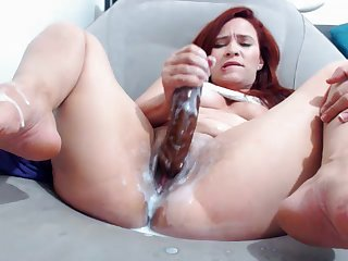 so much cream while carrying-on with huge dildo