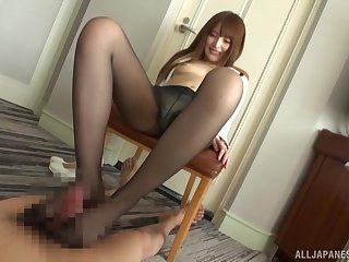 Kinky foot sex with nylon-clad Asian using a Hitachi on herself