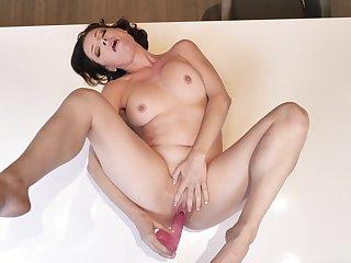 Lecherous venerate solo masturbation XXX with a steamy woman