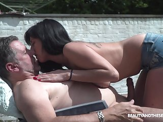Pretty young chick living nextdoor shows rich brighten tits beside old neighbor