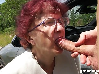 Deviating granny gives a blowjob and tugjob to one spoiled young guy
