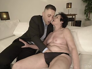 Horny granny is already wet enough for that caitiff public schoolmate