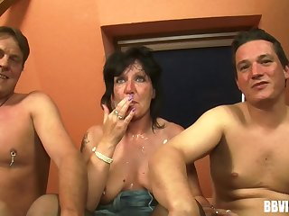 Dirty amateur threesome with two dudes plus team a few mature slut
