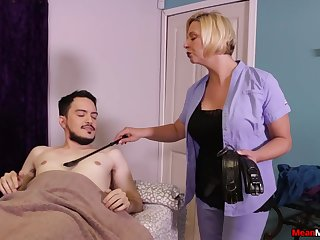 Hot mature promises young lad the circuit handjob