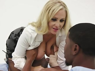 Julia Ann is having steamy sex with a black man, instead of pursuance the brush job