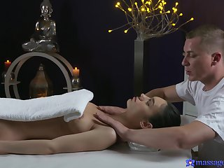 Arwen Blue-eyed massaged and fucked on someone's skin massage table. HD blear