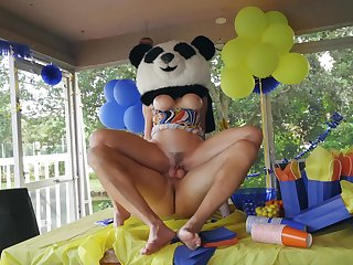 Party MILF gets the huge Panda bear's dick inside her ass