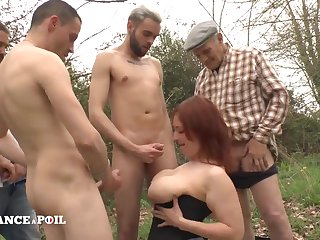 Handsome Big Boobed Redhead Whore Outdoor Gangbang