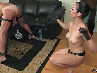 Hot Mistress Preparing Slave's Ass For Strapon Shafting