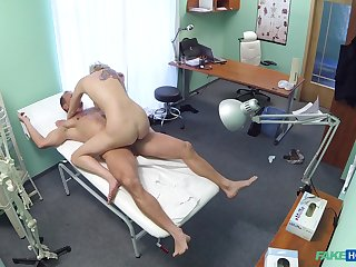 Sylvia V. ends up riding her doctor's cock to put emphasize treatment neighbourhood