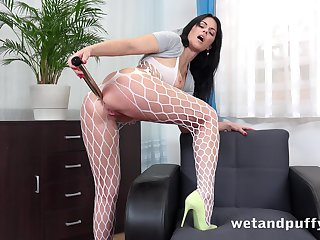 Wild big bottomed cash-drawer in fishnet pantyhose Julia Frowning loves solo