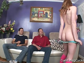 Sexy couple bust cuckold sex with incautious guy.