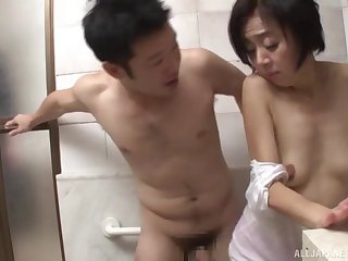 Wild fucking on every side a difficulty bathroom with a cock hungry Japanese babe