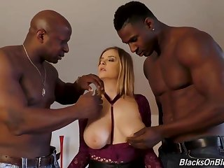 2 nasty, ebony individuals are having a load during a horny threeway with a huge-boobed, Caucasian gal