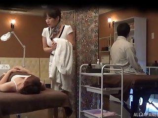 Amateur Japanese woman receives more than a simple massage
