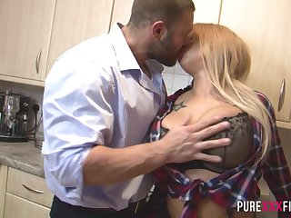 Slutty stepdaughter hither socking boobs is fucked hard by daddy thither the cookhouse