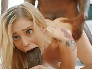 Platinum-Blonde's cock-squeezing labia pummeled changeless unconnected with phat dark-hued schlongs