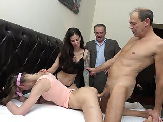 Special titbit be required of these skinny whores in their diggings foursome