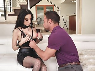 Bimbo roughly torn fishnet pantyhose Trinity St Clair gets fucked anally